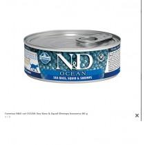 Farmina N&D cat OCEAN Sea Bass & Squid Shrimps konzerva 80 g