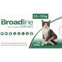 Broadline roztok 3 x 0,9 ml na vonkajšiu aplikáciu na kožu pre mačky